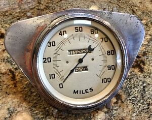 Vintage Stewart Warner Art Deco Crescent Pointer Speedometer Gauge Scta Trog Sw