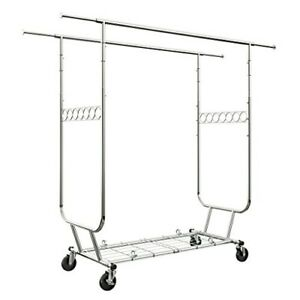 Langria Heavy Duty Rolling Commercial Double Rail Clothing Garment Rack With Whe