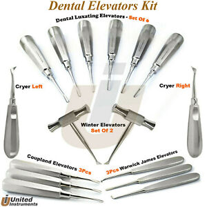 Dental Elevators Kit Coupland Root Luxation Extraction Cryer And Winter Elevator