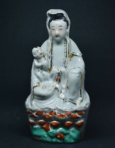 Antique Chinese Export Porcelain Kwan Yin Figurine 9 5 Inches Tall