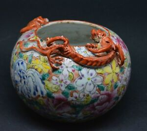 Antique Chinese Porcelain Bat And Dragon Bowl Marked Large Size