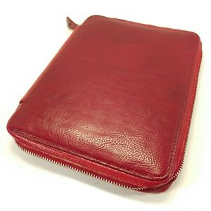 Franklin Covey Red Italian Leather Classic Size Folio Planner Zipper Organizer
