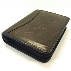 Franklin Quest Covey Dark Brown Leather Compact Planner Zipper Binder Leaf