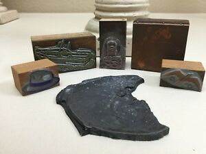 Vintage Printing Letterpress Printer Blocks Plane Boat Fish Bird Derby Etc
