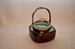 1930 S Art Deco Iridescent Pottery Handled Mini Jar With Chrome Plated Mounting