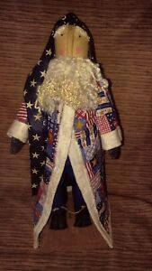 Primitive Decor Standing Santa Christmas Independence July 4th Americana Quilted