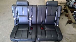 2007 2014 Tahoe Yukon Suburban Black Leather 3rd Third Row Set Of Seats