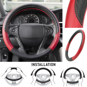 Motor Trend Maxgrip Pu Leather Steering Wheel Cover For Car Truck Suv Black Red
