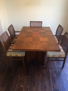 Mid Century Modern Lane Staccato Brutalist Style Dining Table Leaves