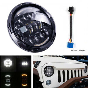 7 Led Hi lo Beam Headlight Turn Signal Drl Light Halo Ring Waterproof For Jeep