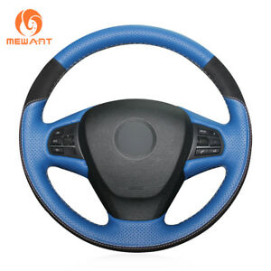 Blue Leather Black Suede Steering Wheel Cover For Bmw X3 F25 2011 2013 X5 F15