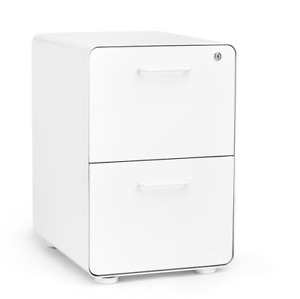 Poppin File Cabinet White Stow 2 Drawer Rolling