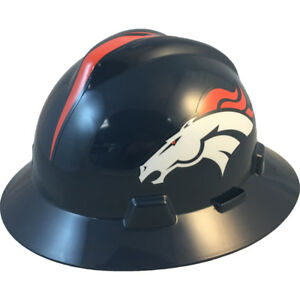 Msa V gard Full Brim Denver broncos Nfl Hard Hat Type 3 Ratchet Suspension