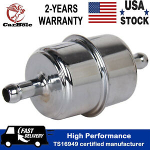 Chrome Canister Inline Fuel Filter 3 8 Hose Carbureted In Out Universal Trucks