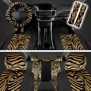 Zebra Car Seat Covers For Front Rear Bench Soft Polyester Blend Beige Black