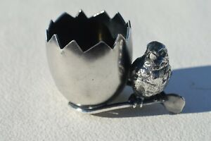 Pretty Antique Barbour Silver Plated Chick Eggshell Wishbone Toothpick Holder