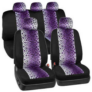 Leopard Pattern Full Car Seat Covers Front Rear Set Universal Fit Black Purple