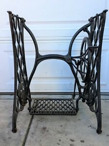 See Ship Note 1890s Singer Sewing Machine Iron Treadle Legs Wheel Base Stand