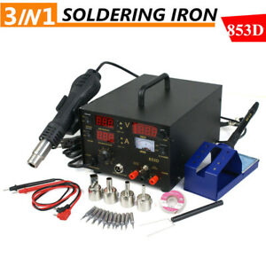 853d Smd Rework Soldering Station Iron Hot Air Gun Dc Power Supply Desolder