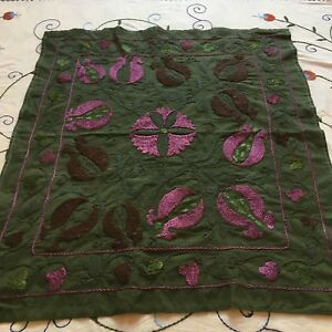 Uzbek Vintage 100 Original Wall Hanging Hand Emroidered Tablecloth Suzani