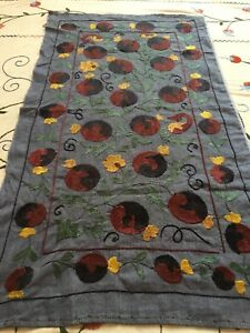 Uzbek Vintage 100 Original Walldecor Tablecloth Handmade Embroidery Suzani
