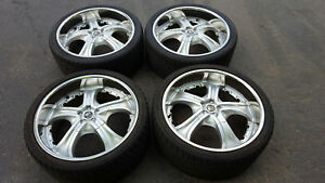 Tis Wheels Tires 22 Camaro Dodge Charger Challenger Silver Chrome Lip used