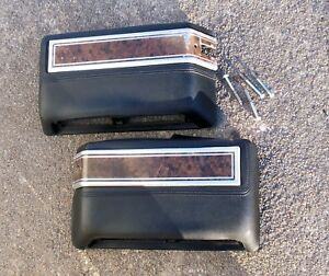 Armrest Pair 68 70 Amc Javelin Amx Rebel Ambassador Black W Woodgrain set B
