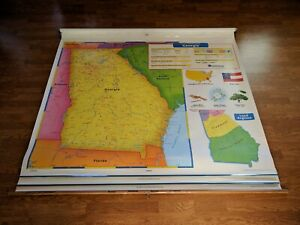 Used Nystrom World United States Us Georgia Three Layer Classroom Pull Down Map