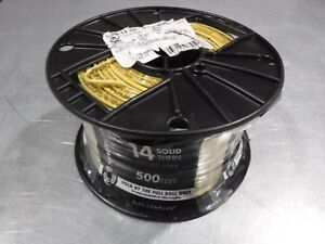 New 500 Southwire 11584058 Awg 14 Solid Yellow Wire Thhn 600v 90c Usa
