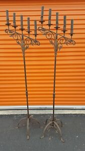 1920 S Spanish Wrought Iron Floor Candelabras Electric Candle Holders Ca Revival
