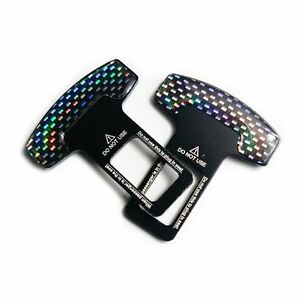 2ps Car Safety Seat Belt Buckle Alarm Stopper Carbon Fiber Look Clip Clamp Usps