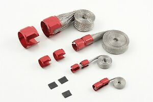 New Mr Gasket 8090 Red Braided Hose Sleeve Cover Kit Flex Braid Woven Metal Hose