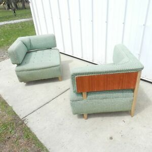 Vtg 50s Pair Of Mcm Low Lounge Accent Cocktail Corner Box Chairs Wood Back