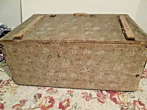 Antique Early Wallpaper Covered Box Philidelphia Pa Primitive