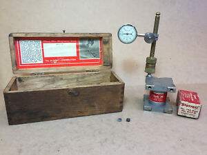 Starrett 196 Dial Test Indicator 0 001 Magnetic Base Brass Post With Wood Box