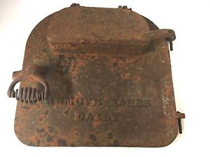 Vintage Cast Iron Wood Stove Door Antique Draft Cast Iron Decor Yard Art Patina