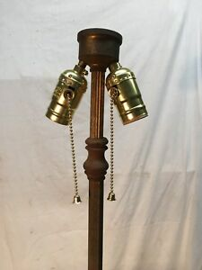 Vtg Cast Iron Victorian Floor Lamp Good New Double Pull Chain And Cord 60in