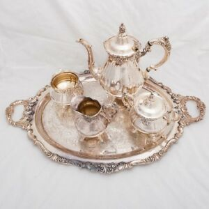 6 Piece Antique Silverplate Wallace Baroque Coffee Tea Service Set With Tray
