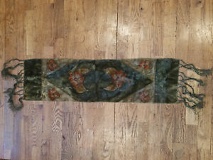 36 Vintage Velvet Table Runner Dyed With Long Fringe