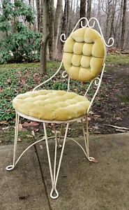 Vintage Hollywood Regency Era Teena Original S Tufted Vanity Chair Seat Stool