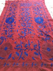Uzbek Vintage 100 Original Wall Hanging Handmade Embroidery Tablecloth Suzani