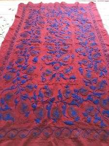 Handmade Uzbek Vintage 100 Original Wall Hanging Embroidery Tablecloth Suzani