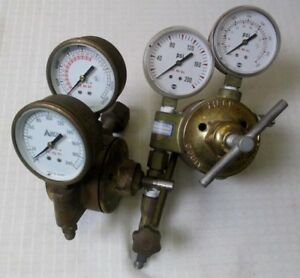 2 Sets Of Airco Reduction Regulator Gauges For Nitrogen Or Argon 200 400 Psi