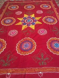 Beautiful Uzbek Antique Vintage Wall Hanging Tablecloth Emboidery Suzani