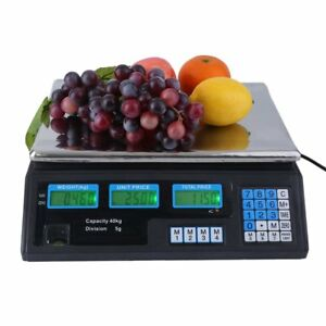 88 Lb Digital Weight Scale Price Computing Deli Food Produce Electronic Counter