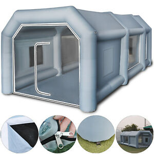 26x15x10ft Inflatable Spray Paint Booth Custom Tent Car Filtration System Grey