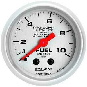 Autometer Ultra lite 52mm 0 1 0 Bar Mechanical Fuel Pressure Gauge Am4311 m