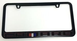 Camaro Matte Black Premium License Plate Frame Black Red Letters W Emblem