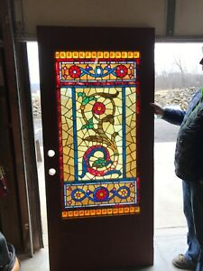 An 484 Jeweled Stained Glass Entrance Door With Serpent 35 75 X 79