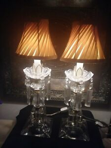 Vintage Etched Glass Crystal Prism Lamps Pair